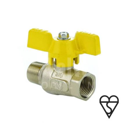 Brass Ball Valve BSI Gas Approved Butterfly Handle Male / Female