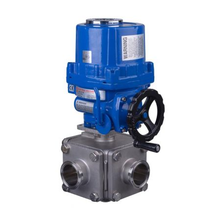 Electric Actuated Series 36 3 Way Hygienic Ball Valve
