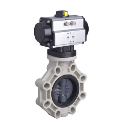 Pneumatic Actuated Industrial PVC Plastic Butterfly Valve