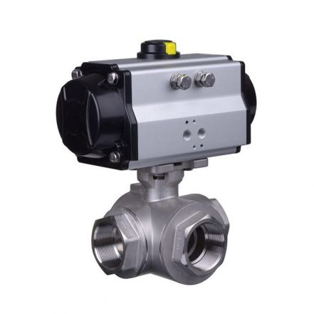Pneumatic Actuated 3 Way Brass Ball Valve