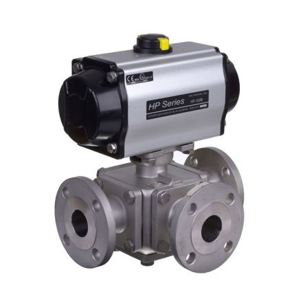 Pneumatic Actuated 3 Way Flanged Stainless Steel Ball Valve