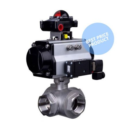 Pneumatic Actuated 3 Way Economy Brass Ball Valve