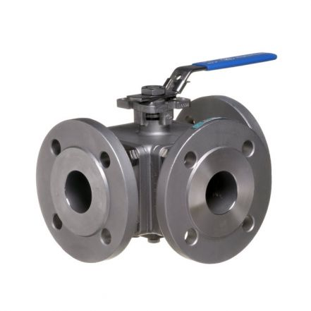 PN16 Direct Mount 3 Way Stainless Steel Ball Valve