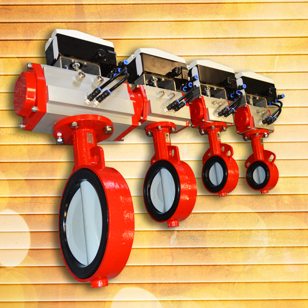 Modulating pneumatic actuated butterfly valves