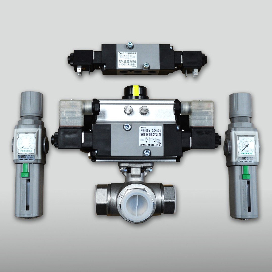 three way pneumatic actuated ball valve